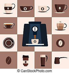 Coffee set flat icon. Design set. Vector illustration.