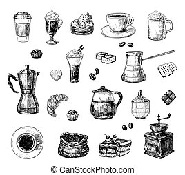 Coffee set - Set of hand drawn coffee related objects