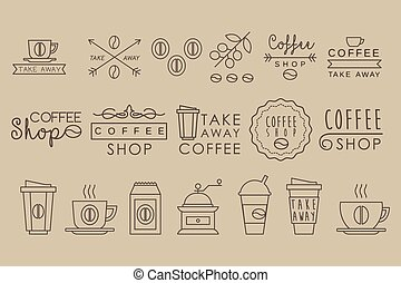 Coffee Set. Linear Vector Illustration