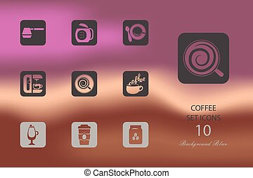 Coffee. Set of flat icons on blurred background