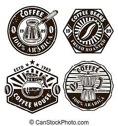 Coffee set of four vector emblems, badges, labels