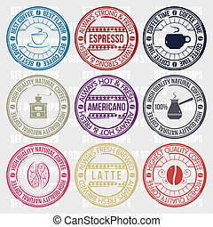 coffee set of stamps