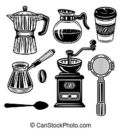 Coffee set of vector objects and elements in monochrome vintage style isolated on white background