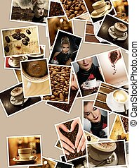 Coffee set. Retro collage