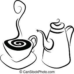 Simple stylised illustration of a coffee set