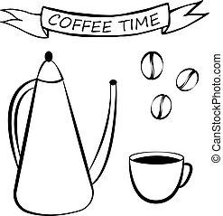 Coffee set, vector illustration