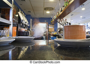 coffee shop - a restaurant in rush hour with a cup of coffee...