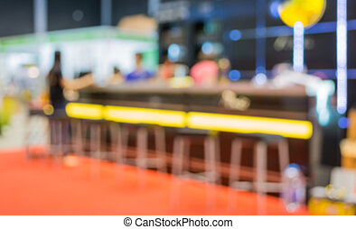 Coffee shop bar blur background with bokeh image