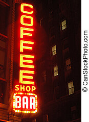 coffee shop bar with apartment windows new york city