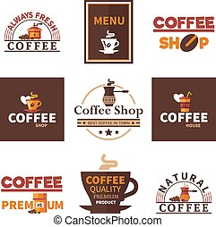 Coffee Shop Cafe Design Emblems Collection
