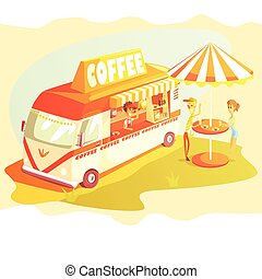 Coffee Shop Cafe In Mini Bus On Sunny Day With Outdoors Table