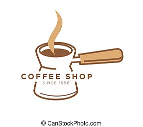 Coffee shop cafe vector icon template of turkish cezve pot...