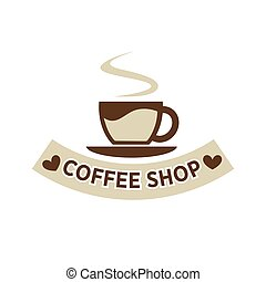 Coffee shop cafeteria or cafe vector cup steam icon template...