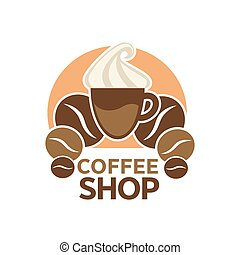 Coffee shop, cafeteria or cafe vector icon template -...