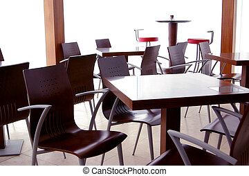 Coffee Shop - Empty tables in a closed modern coffee shop