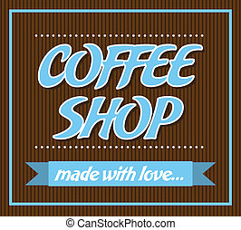 Coffee shop over black background vector illustration