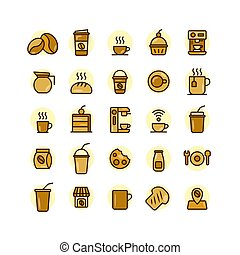 Coffee Shop filled outline icon set.