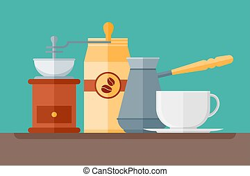 Coffee shop flat style horizontal banner. Vector illustration.