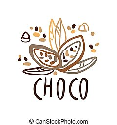 Coffee shop hand drawn original logo with cocoa beans