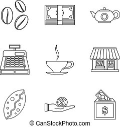 Coffee shop icon set, outline style