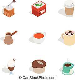 Coffee shop icons, isometric 3d style