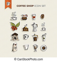 Coffee shop icons set illustration