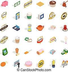 Coffee shop icons set, isometric style