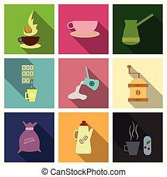 coffee shop illustration design elements vintage vector