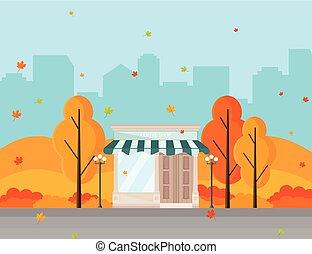 Coffee shop in a city autumn season Vector background
