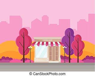 Coffee shop in a city spring season Vector background