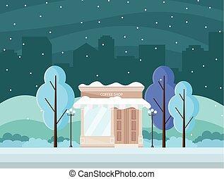 Coffee shop in a city winter season Vector background