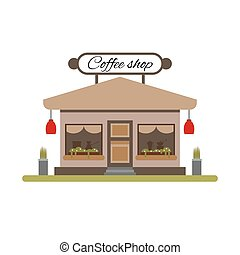 Coffee shop in flat style - vector illustration stock. Infographic elements. Market icon with showcases isolated on white background. Store on the street.