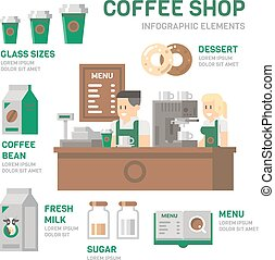 Coffee shop infographic flat design