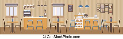 Coffee shop interior with coffee and desserts flat vector illustration.