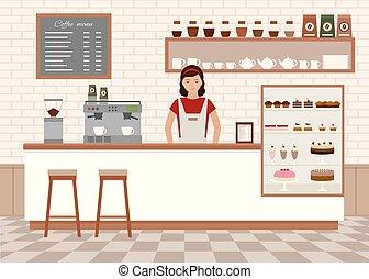 Coffee shop interior.