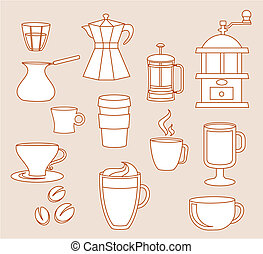 Coffee shop line-art icons