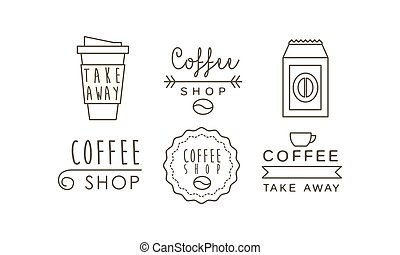 Coffee shop line icons set, takeaway coffee cup, labels and badges vector Illustration on a white background