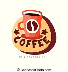 Coffee shop logo design template, cafeteria or coffeehouse badge vector Illustration on a white background