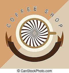 Coffee Shop Logo With Ribbon