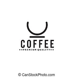 Coffee shop logo with simple line cup design