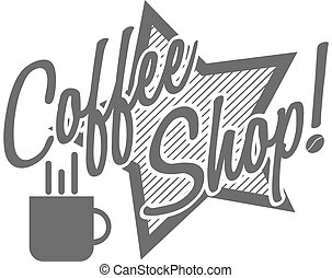 """coffee, shop!"", logotype, dactylographie"