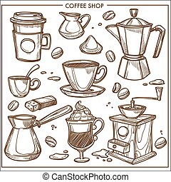 Coffee shop maker equipment tools vector sketch icons cup,...