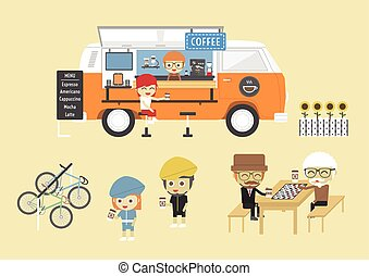 coffee shop - Mobile coffee van, hipster lifestyle on street...