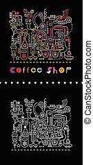 Coffee Shop Neon Colors Illustration