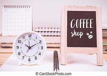 Coffee shop on blackboard