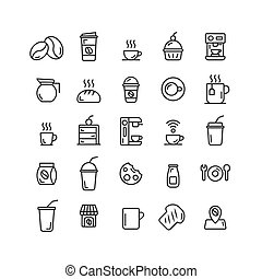 Coffee Shop outline icon set.