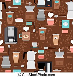 Coffee shop seamless pattern