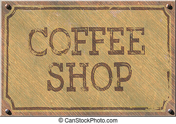 Coffee Shop Sign, Vintage Wood