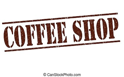 Coffee shop stamp - Coffee shop grunge rubber stamp on white...