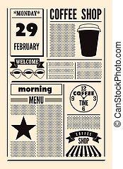 Coffee Shop typographic poster.